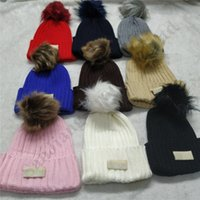 Wholesale free women costumes for sale - Group buy Knitted Hat for Men Women Winter U G Fluffy Ball Artificial Pompon Unisex Australia Beanies Bonnet Ski Hats Warm Gorro Crochet Hats C102208
