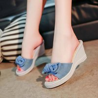 077899559 Wholesale butterfly flip flops for sale - HEE GRAND Women Slippers With  High Heels Wedges Butterfly