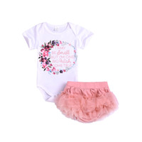Wholesale tiered clothing for sale - Group buy Infants Baby girl clothes Letter Floral Bodysuits Romper Tulle Tiered Briefs Shorts set Summer