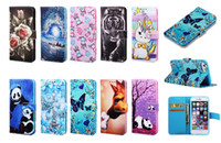 Wholesale chinese pandas for sale - Group buy Leather Wallet Case For Samsung S9 S8 M10 M20 M30 A20 A40 A50 A70 LG Stylo Panda Tiger Tower Flower Cartoon Butterfly Luxury Flip Cover