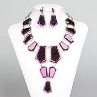 boncuklu mücevher satışı toptan satış-2019 Shining Boncuklu Düğün Aksesuarları Kolye Takı Setleri Kızlar Için Deldi Düğün Parti Balo Akşam Giyim Takı Sıcak Satış