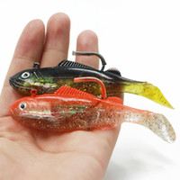 Wholesale soft lures shad online - New Realistic T tail Fish VIB Shad soft rubber lure Black Red g Lead Head Spoiler Swimbait