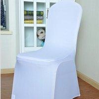 ingrosso coperture della sedia pieghevole dello spandex-Eco-Friendly universale poliestere bianco Spandex Wedding Chair Covers per matrimoni Banchetti pieghevole decorazione dell'hotel 93 * 40cm DHL