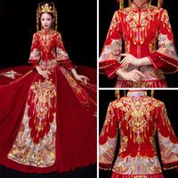 chinês longo cheongsam mais tamanho venda por atacado-Plus Size 4XL 5XL 6XL agradável estilo chinês tradicional do vestido de casamento Vestido Vermelho Longo Evening Bordado Cheongsam roupa