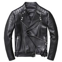 Da UOMO moto vintage nero in vera pelle slim fit giacca da motociclista Reale NUOVO