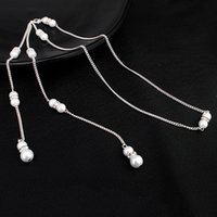 Wholesale chain united jewelry for sale - Group buy Sell Like Hot Cakes Bride Jewelry Europe And The United States Set Diamond Pearl Pendant Tassel Back Chain Bride Necklace
