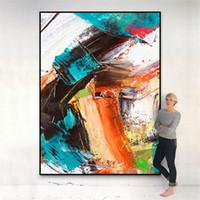 esszimmer wandkunst modern großhandel-Große bunte moderne abstrakte Segeltuchmalerei-Wohnzimmeresszimmer-Schlafzimmerausgangsdekoration-Wandkunst