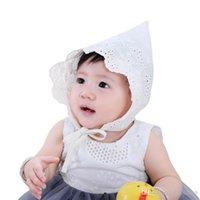 белые детские шапки оптовых-Новые Кружева Детская Шапка Летняя Фотография Реквизит Baby Bonnet Белая Принцесса Дети Девочки Кепка на 3-18 месяцев