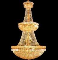 accesorios de iluminación usados al por mayor-Lámparas de cristal cromo gran cristal Foyer pendiente de la lámpara del accesorio ligero del oro / usados en Villa Cuarto Dúplex Edificios envío