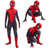 fantasias super elásticas venda por atacado-Novo traje do tema homem aranha traje homem aranha elástico longe de casa terno cosplay para adultos crianças