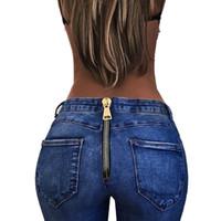ingrosso jeans pantaloni matite per le signore-Hxroolrp Fashion High Waist Jeans Donna Stretch Pants Pour Dames Slim Pantaloni Ladies Pencil Pants Torna Zipper Jeans de mujer C2