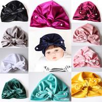 2019 Brand New Fashion Newborn Toddler Kids Baby Boy Girl Turban Beanie Hat  Winter Cap Children Bow Velvet Hat Girl Beads f3a0c15310f0