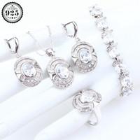 brincos brancos jóias de fantasia venda por atacado-Casamento Branco Cubic Zirconia Prata 925 Conjuntos de Jóias Mulheres Brincos Anéis Bijuterias Colar Pingente Conjunto Caixa de Presente