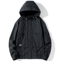ingrosso giacche cargo nere-Mens allentato casuale giacche nere solido caldo di vendita Trasporto Maschio Jacket cappotti Autunno Inverno parti superiori di modo