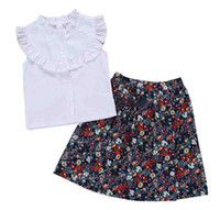 camiseta blanca de algodón bebé al por mayor-Infant Kids Cotton camiseta blanca Baby Girls Princess Summer Tops camiseta Solid White vestido estampado de flores 2PCS Set