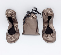 Wholesale dancing shoes green resale online - Hot Selling Pu Roll Dance Flat with bag for sale in