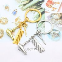 Wholesale keys hair for sale - Group buy Creative Hair Dryer Scissors Comb Shape Key Chain Zinc Alloy Key Ring Party Favor Gift WB843