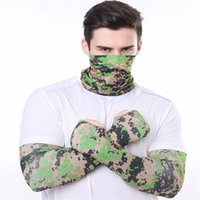 Wholesale cool sports scarves resale online - Men Bandana Magic Scarf gloves protective sleeves set Sport Sun UV Protection Cooling Face Mask For Running Fishing Cycling LJJA4080