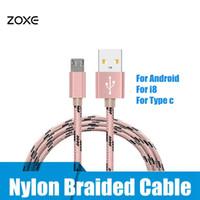 apfel usb c großhandel-3ft typ c nylon geflochtene usb ladekabel micro v8 kabel datenleitung metallstecker ladekabel für samsung s8 plus für iphone8