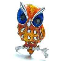 broches de búhos al por mayor-Broche para mujer Joyas Broche retro Maravillosamente plástico Rhinestone Crystal Enamel Owl Pins para regalos Broches navideños