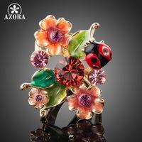 anéis de azora venda por atacado-AZORA Ouro Cor Stellux Austríaco Cristal Multicolour Insetos e Anel de Flor TR0087