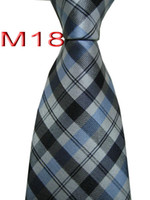 63fe5ea40e409 Mode M18 JACQUARD TISSÉ À LA MAIN Conception Plaid Noir / Gris / Bleu TIE  HOMME Cravate