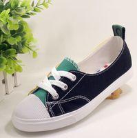 ingrosso scarpe piane da donna coreane-Scarpe di tela poco profonde estate femminile nuovo colore corrispondente studenti coreani casual scarpe pigre donne scarpe basse a pedale