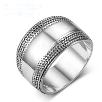 Wholesale wide wedding bands for women resale online - 100 Sterling Silver Rings for Women Vintage Silver Wide Wedding Bands Edge Wave Lace Braided Rings Size