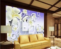 Wholesale yellow flower wallpaper resale online - custom size d photo wallpaper living room mural yellow flower rhombic or circle d picture sofa TV backdrop wallpaper non woven sticker
