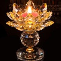 ingrosso detentori della candela di loto-Portacandele in cristallo Portacandele in fiore Lotus Feng Shui Home Decor Portacandele Big Tealight Candle Holder
