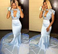 ingrosso luce del pianoforte nero-Light Blue Sky Mermaid Prom Dresses Per South African Black Girls Halter Keyhole Neck Appliques Fiori Cap Sleeve Long Abiti da sera BC1064