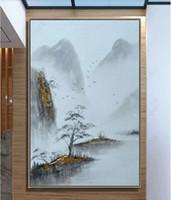 Wholesale blue wall art painting for sale - Group buy 3d wallpaper custom photo Abstract art porch landscape pine forest bird living room decorative painting muals wall paper for walls d