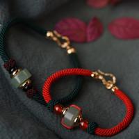 çince bilezik knot toptan satış-Tasarımcı takı çince düğüm çift bilezikler kırmızı dize yeşim boncuklu bilezikler çiftler için toptan sıcak moda