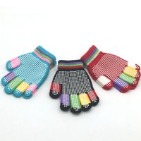 Wholesale fashion magic gloves resale online - Knitting Child Lovely Kids Magic Gloves Elastic Knitting Gloves For Children Winter Outdoors Playing Skiing Gloves Party Gifts RRA2574