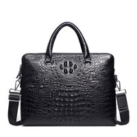 Wholesale briefcases cowhide for sale - Group buy Double Zipper Mens Handbag Genuine Leather Crocodile Pattern Briefcase Men Shoulder Messenger Bag Cowhide Business Laptop Bag