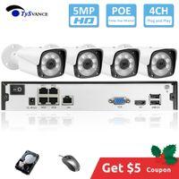 güvenlik hdd toptan satış-TySvance 4ch 5MP POE Kiti H.265 Sistemi CCTV Güvenlik Yukarı NVR Açık Su geçirmez IP Kamera Gözetim Alarm Video P2P 16Ch için
