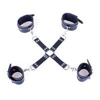 манжета оптовых-Унисекс кожаные наручники наручники наручники кандалы ножной браслет собака рабы устройства БДСМ наборы ролевые игры инструменты секс-игрушки 0221