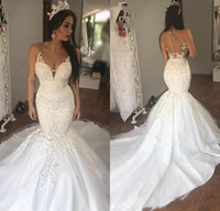Wholesale sexy wedding dresses for sale - 2019 New Sexy Mermaid Wedding Dresses Sheer Neck Lace Appliques Sleeveless Deep V Neck Backless Plus Size Sweep Train Custom Bridal Gowns