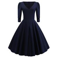 avrupa elbisesi kıyafetleri toptan satış-Bayan elbisesi düz renk eski avrupa ve amerika tarzı elbise balo elbisesi