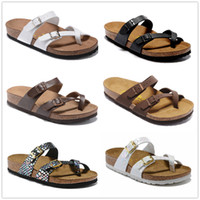 Wholesale mixed size shoes resale online - Mayari Arizona Gizeh Hot sell summer Men Women flats sandals Cork slippers unisex casual shoes print mixed colors size