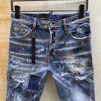 büyük boy tasarımcı kot toptan satış-DS2 Büyük boy erkek tasarımcı pantolon yama nakış kaya canlanma kot 19fw yeni bez bant baskılı delik dar kesim kot kot mens