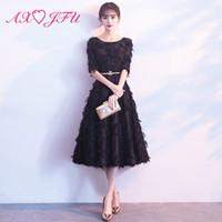 kısa siyah dantel tüy elbiseleri toptan satış-AXJFU prenses o boyun siyah dantel kısa abiye vintage illusion yarım kollu tüy abiye küçük siyah
