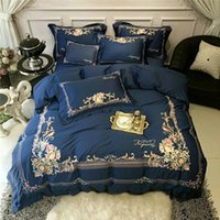 королевский синий лист оптовых-New  80S Egyptian Cotton Gold Royal Embroidery Bedding Set Blue Queen King Size Duvet Cover Bed sheet Bed Linen Pillowcase