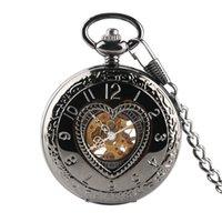 cadenas huecas masculinas al por mayor-Amante retro cubierta en forma de corazón hombres reloj de bolsillo mecánico hueco steampunk esqueleto hombres mujeres hombre reloj masculino relojes 30 cm cadena