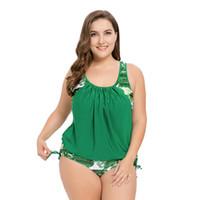b19b1110af3 5XL Plus Size Swimsuit One Piece Swimwear for Women 2019 Sexy Green Leaves  Print Triangle Bikini One-Piece Swim Wear Monokini Bathing Suit