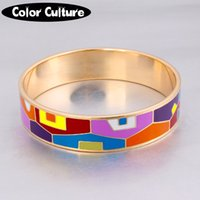 Wholesale vintage enamel bangles for sale - Group buy Elegant Geometry Bracelet Vintage Stainless Steel Red mm Width Enamel Bangles for Women Classic Gift