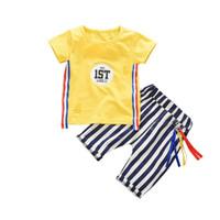 Wholesale summer infant set resale online - Summer Infant Baby Sets Boys Girls Cartoon Letter Print Short Sleeve Pants Two Pieces Suit New Arrival Kids Clothes