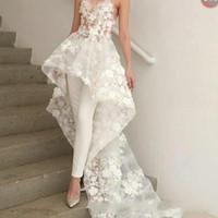 zuhair murad longo vestido de renda branca venda por atacado-New Sexy Bohemian Branco Macacões Vestido De Noiva Longo Trem 2019 Zuhair Murad Querida Lace 3D Floral Apliques de noiva vestido de noiva