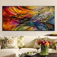 ingrosso telai di pittura ad olio brillante-HD stampato moderna pittura a olio astratta astratta colorato poster luminoso dipinti ad olio su tela grande immagine decorativa di arte della parete