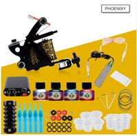 tattoo gun kits venda por atacado-Kits de Tatuagem profissional Top Artista Conjunto Completo 1 Tattoo Machine Gun Forro E Sombreamento Tintas Agulhas De Energia Tattoo Supply